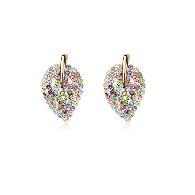 Multicolored Austrian Crystal Stud Earrings For Women Ladies Small Leaf Earrings Girls Kids Gifts Lady Party Jewelry Accessories