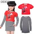 Детские платья для девочек одежда 2015 осень стиль с длинным рукавом в полоску большая девочка платье детская одежда 4 6 8 10 12 13 лет