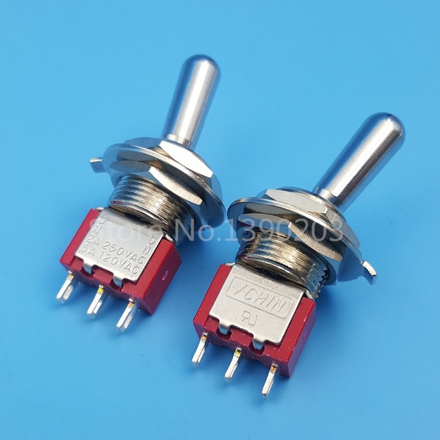 2Pcs Red T101 3Pin 2Position ON ON SPDT Maintained Large Handle Mini ...
