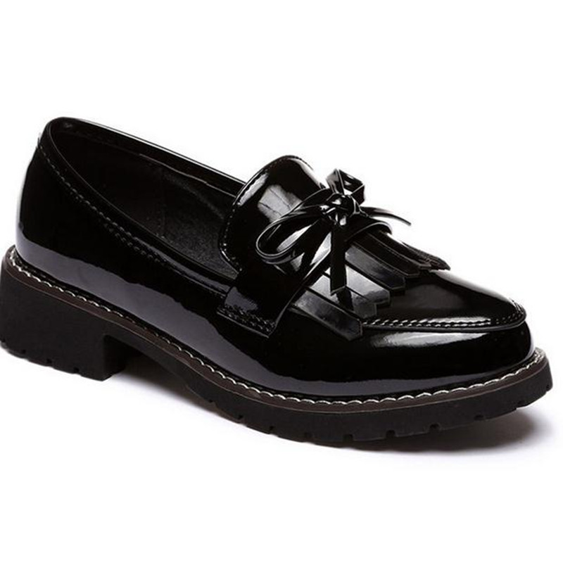 Female patent leather fringed shoes Large size thick bottom women's flat shoes casual Loafers obuv ayakkab damski boty цепь шариковая suki 3 6мм латунь хромир