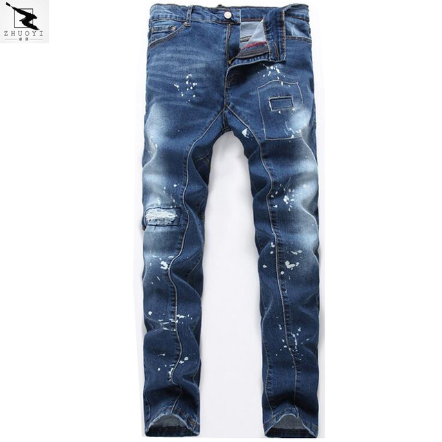 Men's jeans high quality brand of jeans men Slim stretch straight hole jeans men denim trousers  ripped jeans men