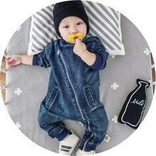 Одежда с капюшоном для маленьких мальчиков от 3 до 24 месяцев синий джинсовый комбинезон для маленьких мальчиков, одежда для новорожденных комбинезон в виде жирафа, топ, Roupas, модный детский комбинезон