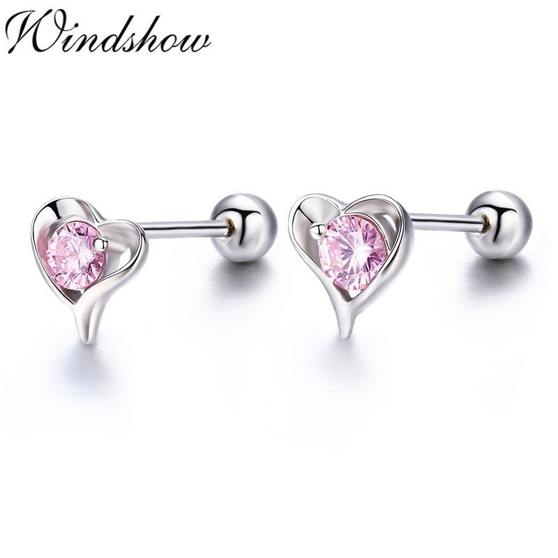 925 Sterling Silver Pink Oval Cubic Zirconia Screw Back Earrings for Young Girls