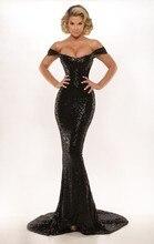 2016 weg von Der Schulter Schwarze Pailletten Mermaid Frauen Abendkleidung Gericht Zug Trompete Mädchen Sparkle Prom Kleider
