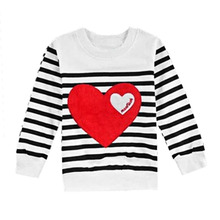 100% Brand New Autumn Family Matching Mommy and Me Clothes Cotton Long Sleeve Heart Embroidery Cotton Round Neck Shirt Tops