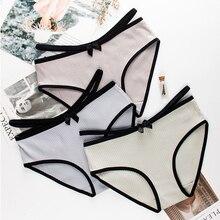 Wasteheart Fashion Gray Cotton Bow Low Waist Straps Women Panties Underwear Lingerie Briefs 3 Piece Color Underpants