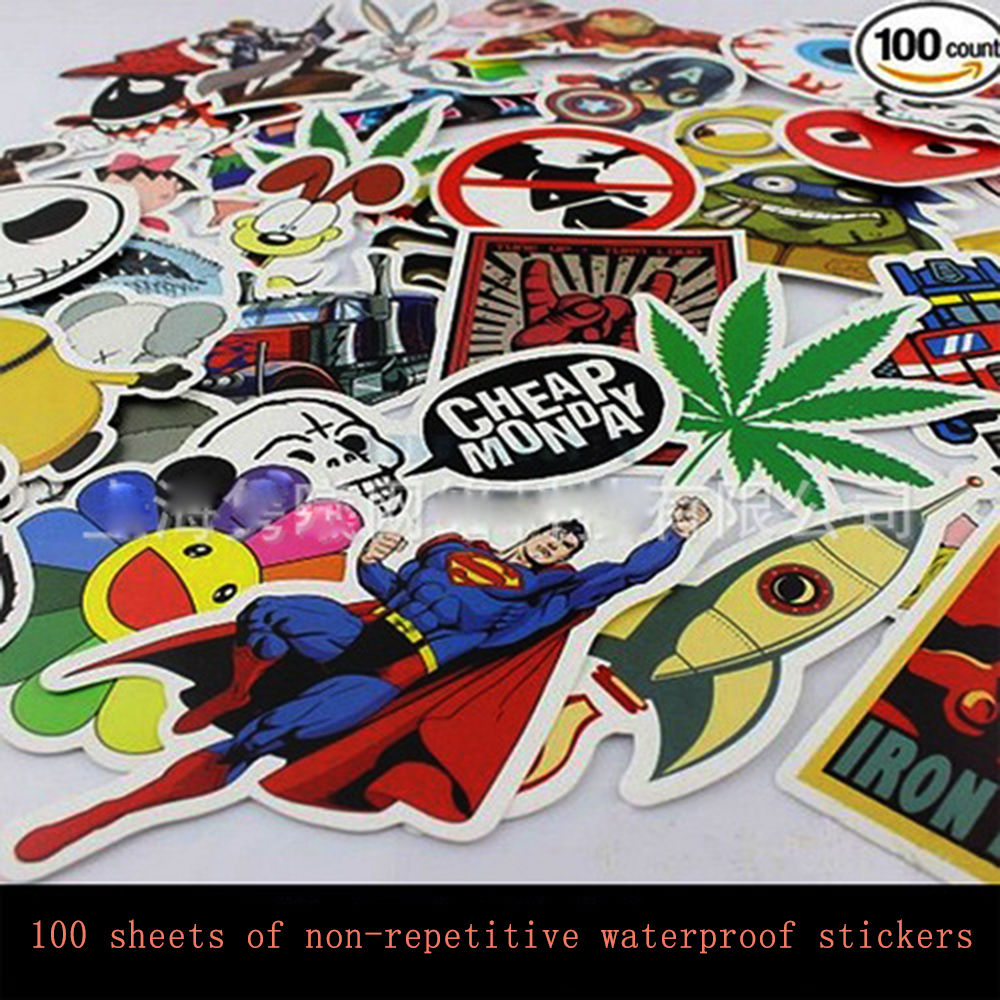 100 pcs Funny Car Stickers on Motorcycle Suitcase Home Decor Phone Laptop Covers DIY Vinyl Decal Sticker Bomb JDM Car styling rus russia country code oval jdm reflective vinyl sticker lettering car truck bumper decal motocross motorcycle aufkleber