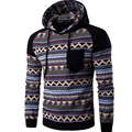 Hot New Stripe Prints Ethnic Style Men's Hooded Sweatshirts Casual Stitching Raglan Sleeve Hoodies Man Hoody Tracksuit