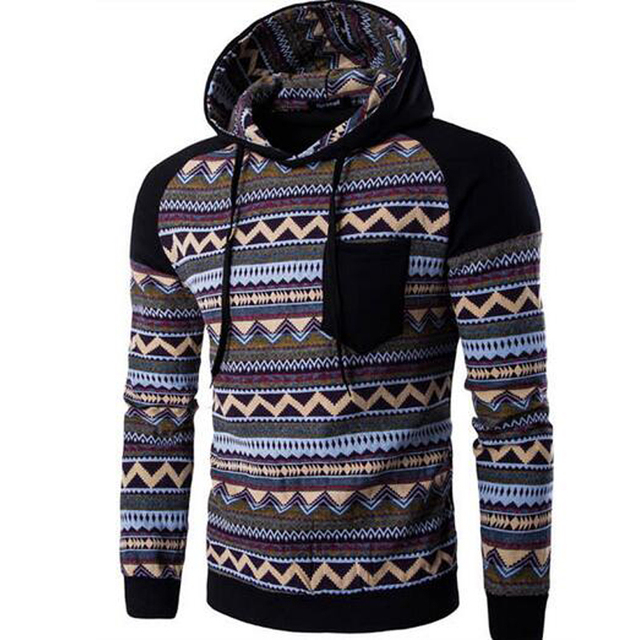 Hot New Stripe Prints Ethnic Style Men's Hooded Sweatshirts Casual Stitching Raglan Sleeve Hoodies Man Hoody Tracksuit
