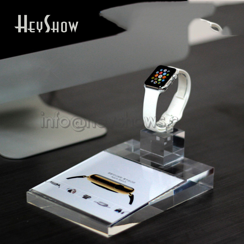 Universal Watch Display Stand With Price Tag Holder Acrylic Smart Watch Holder Apple Watch Exhibit Base Transparent For Retail
