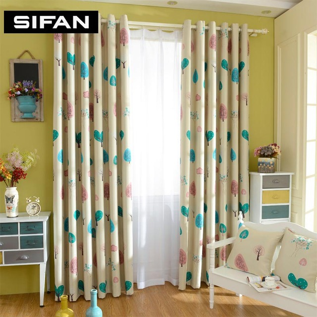 Curtains For Yellow Living Room How To Decorate A Long Narrow With Fireplace On Side Wall Cartoon Tree Printed Blue Blackout Bedroom Children Kids Window