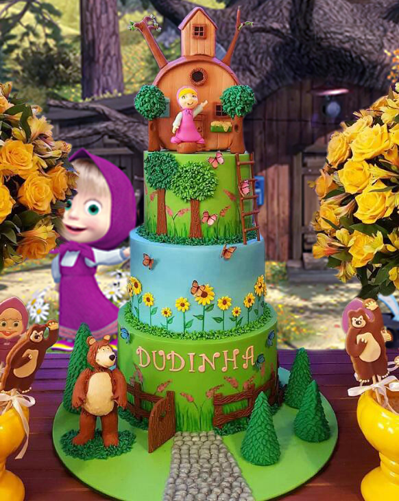 Image 4 - Photography Background Cartoon Masha And Bear Vinyl Baby Birthday Party Child Forest Decor Photocall Backdrop Photo Studio-in Background from Consumer Electronics