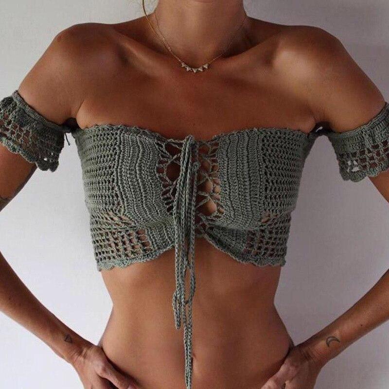 2019 Women Bikini Top Bandage Hollow-out Tassel Swimsuit With Sleeves Summer Crochet Lace Top Swimwear