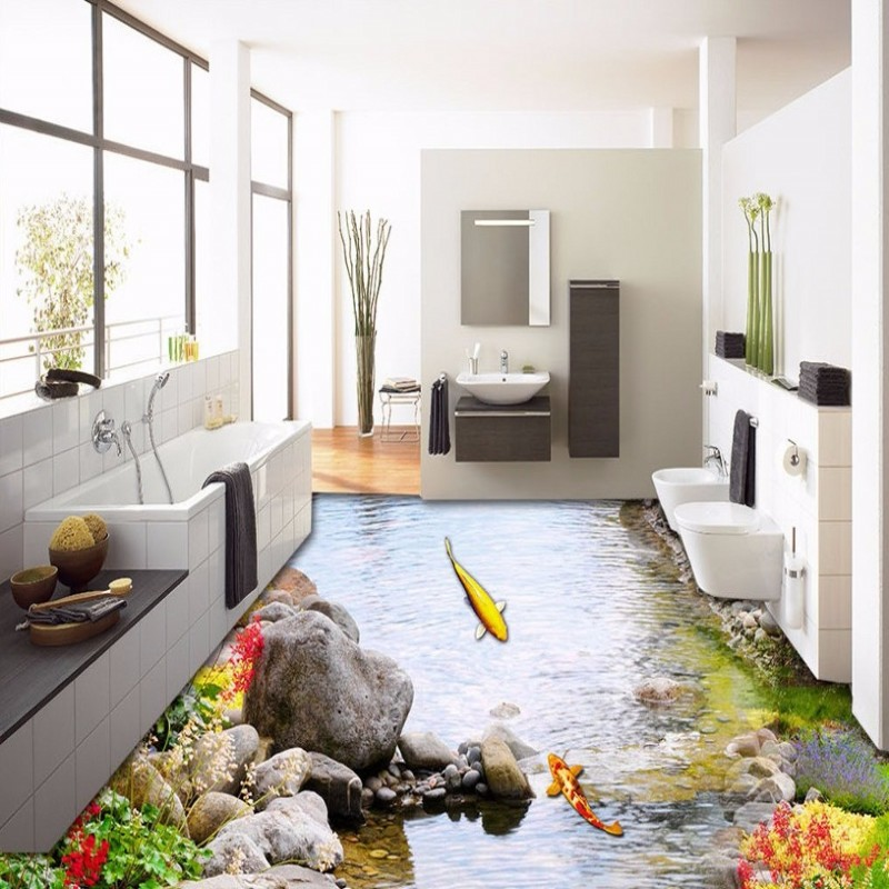 Wonderful Free Shipping Park Landscape Grass Water Flowing Carp 3D Floor Painting  Wear Non Slip Living Room Lobby Bedroom Flooring Mural In Wallpapers From  Home ...