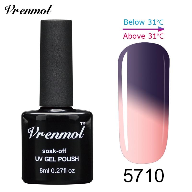 Vrenmol, 1 шт., меняющий цвет, замачиваемый УФ-гель, цвета, лак Verniz, Термальный, меняющий настроение, Гель-лак для ногтей - Цвет: 5710