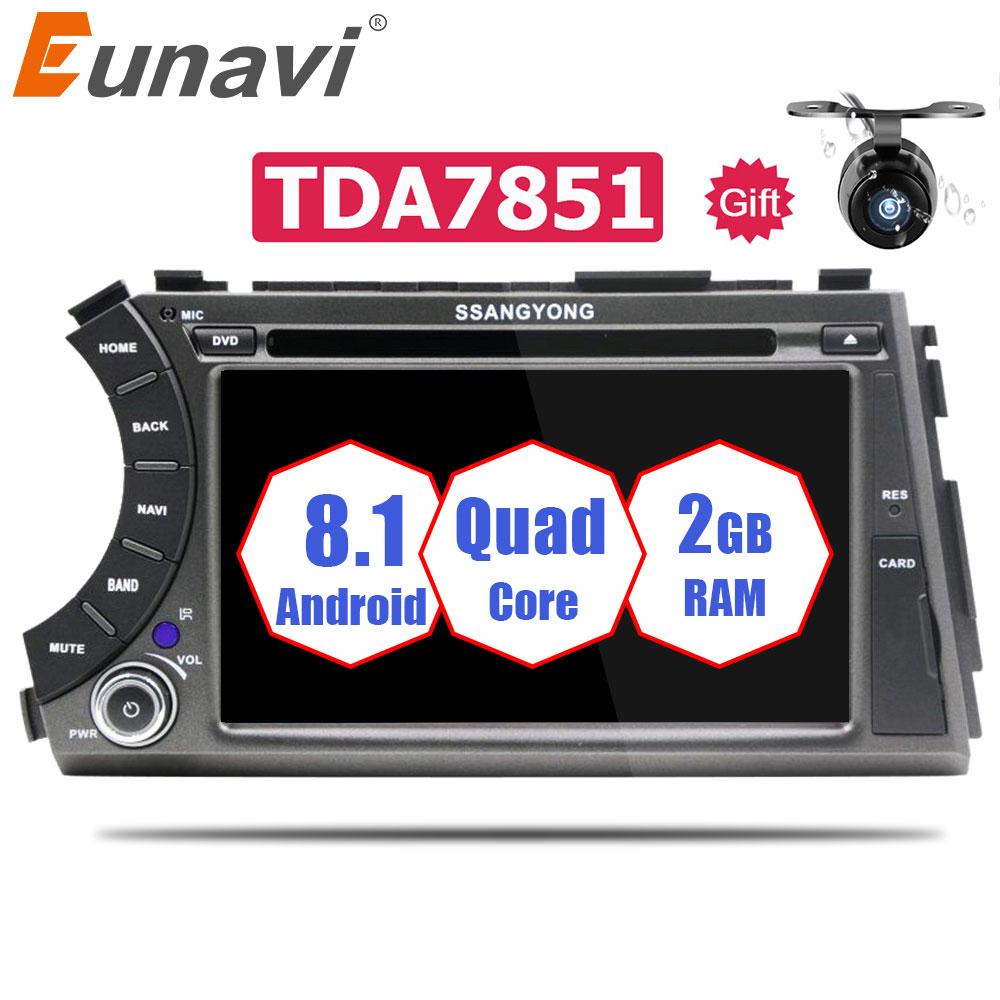 Eunavi 7 ''Quad Core 2 din Android 8.1 dvd de voiture Pour Ssang Yong SsangYong Kyron Actyon Sport Korando 2005- 2013 radio gps Stéréo