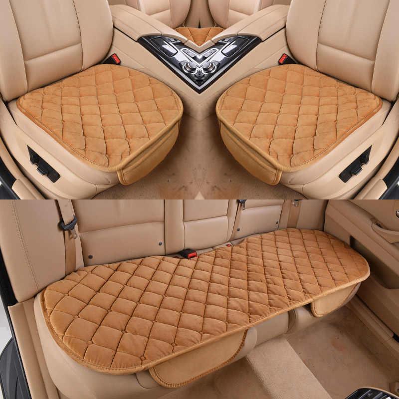 3 шт./компл. автомобиля поставляет площади Стиль роскошный теплый автокресло крышку подушки зима Универсальный спереди назад чехлы сидений автомобиля стул площадку