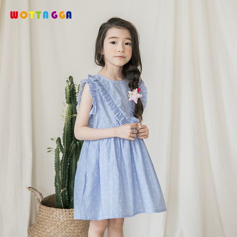 2019 WOTTAGGA Korean Summer Girl Dress Flower Kids Casual Sleeve Striped Childrens Round Collar Knee-length