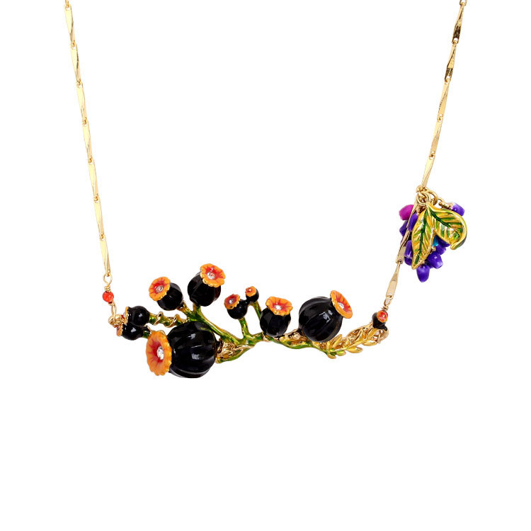 France Dyxytwe black Poppy flower Enamel glaze Gold pleated necklace For Women Unique Noble Party Brand Jewelry