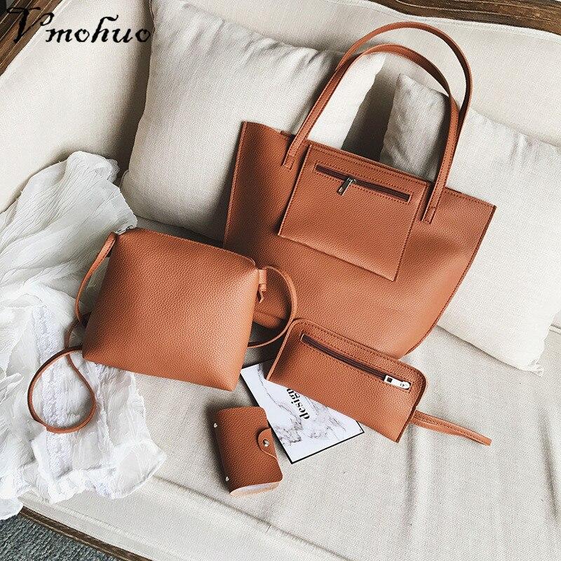 VMOHUO 4pcs/set Fashion Women PU Leather Handbag Lady Large Capacity Shoulder Bag Sets Messenger Bag Clutch Casual Tote Bags 6