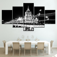 Modern Landscape black and white Bridge 5 piece Wallpapers modern Modular Poster art Canvas painting for Living Room Home Decor