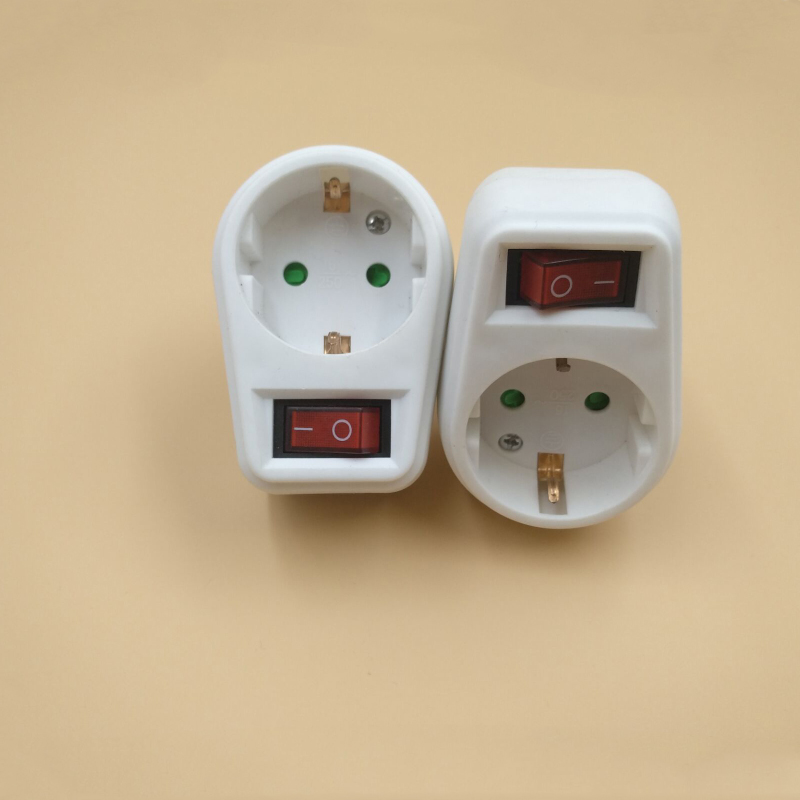 2PCS European conversion plug German conversion socket With independent switch