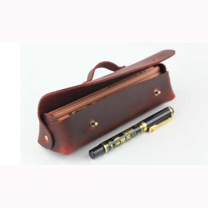 Crazy Horse Genuine Leather Pen Case 4 Colors  Big Capacity Pencil Bag  Business Pen Holder Office Supply School Accessories