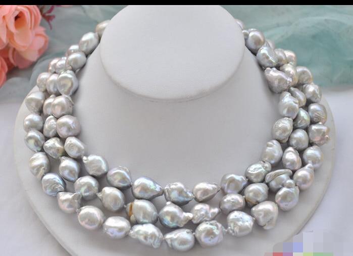CB170 magnifique collier de perles 3row 17 18mm gris BAROQUE KESHI REBORNCB170 magnifique collier de perles 3row 17 18mm gris BAROQUE KESHI REBORN