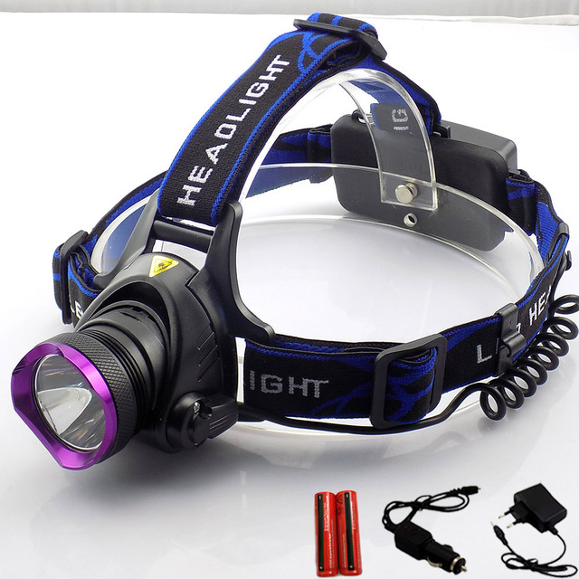 Rechargeable T6 LED 2000lm Headlamp Flashlight LED Headlight Head lamp Torch Light fishing with AC Car Changers 18650 Battery
