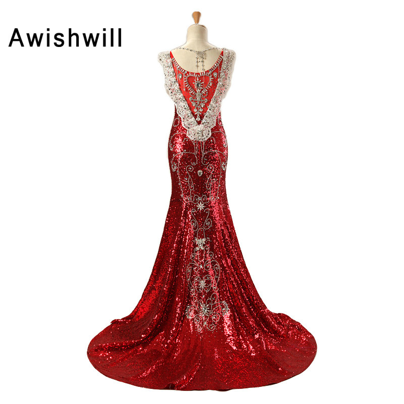 Personnalisé De Luxe Rouge Long Robe De Paillettes Robe De Soirée - Habillez-vous pour des occasions spéciales - Photo 2