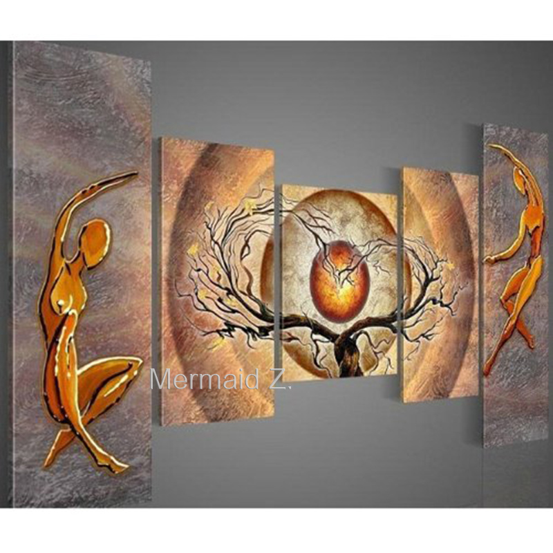 100% hand-painted free shipping 5 piece of modern oil painting abstract Orange Trees Dancing canvas art deco canvas painting