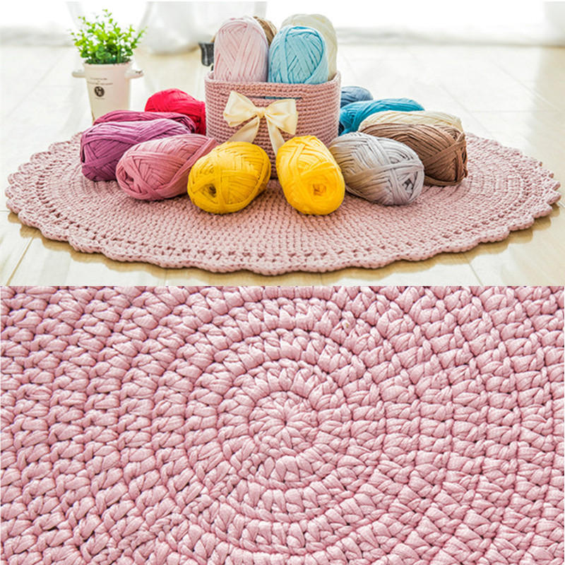 About 70M Flat Woolen Yarn DIY Knitting Wool For Rug Woven Thread Cotton Cloth Hand Crocheted Basket Rug Blanket Bag Basket