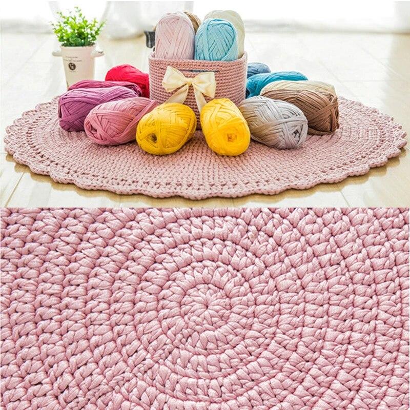 environ 70m plat laine fil bricolage laine a tricoter pour tapis tisse fil coton tissu main crochet panier tapis couverture sac panier