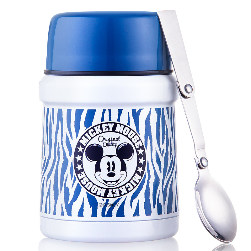 Disney beak beaker stainless steel cooler student insulation lunch box 450ml with spoon