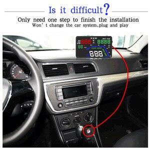 """Image 2 - Universal novo q7 5.5 """"multi cor carro automático hud gps cabeça up display velocímetros excesso de velocidade aviso dashboard brisa projetor"""
