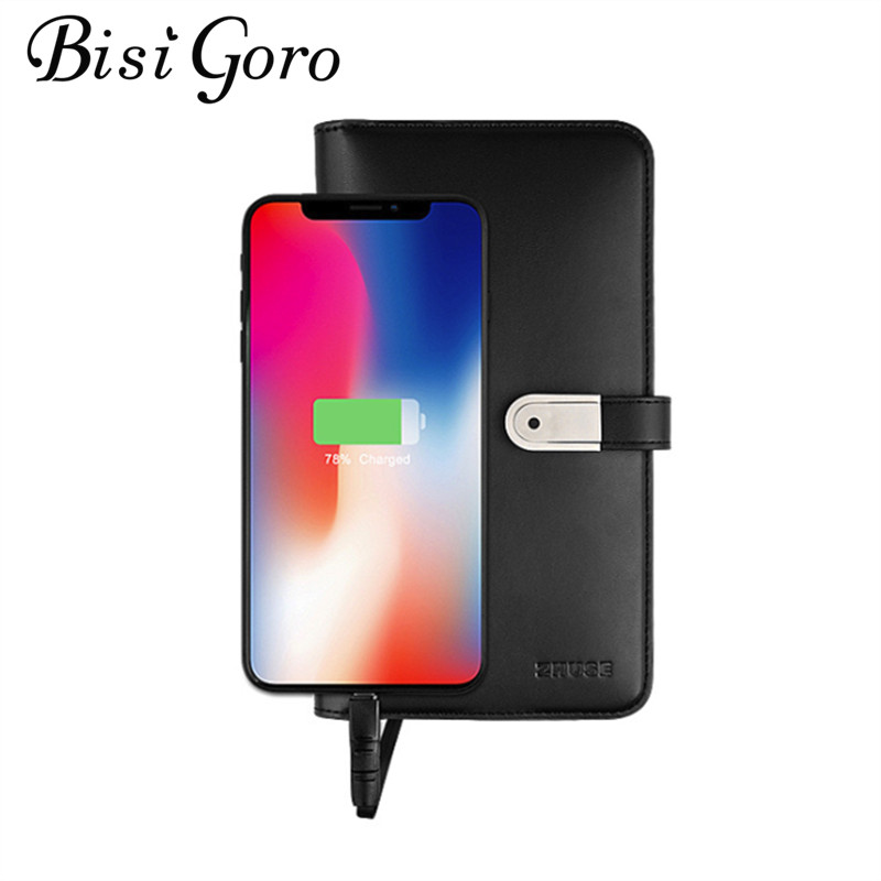 BISI GORO 2019 Unisex Long Smart Wallet With USB for Charging Wallet For Ipone And Android Capacity 8000 mAh And 16G U Disk