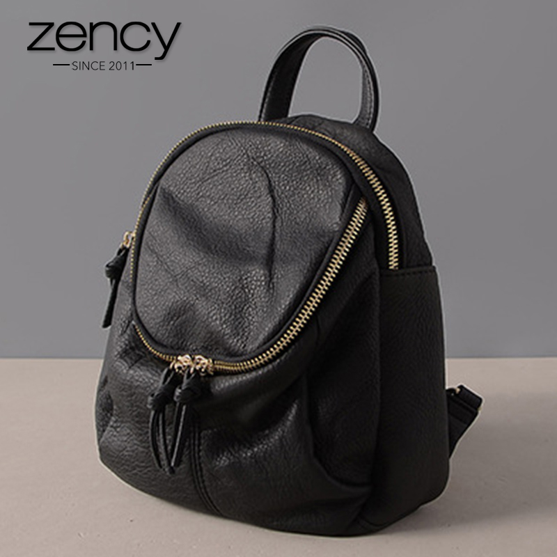 Zency 100% Genuine Leather Cute Women Backpack Notebook Schoolbags For Girls Holiday Knapsack Fashion Black Small Travel Bag