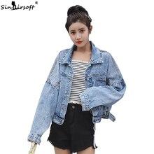 Embroidery Long Sleeve Vintage Casual Jean Jacket For Women Turn-down Collar Blue Fashionable Women Coats Outwear Denim Jacket все цены