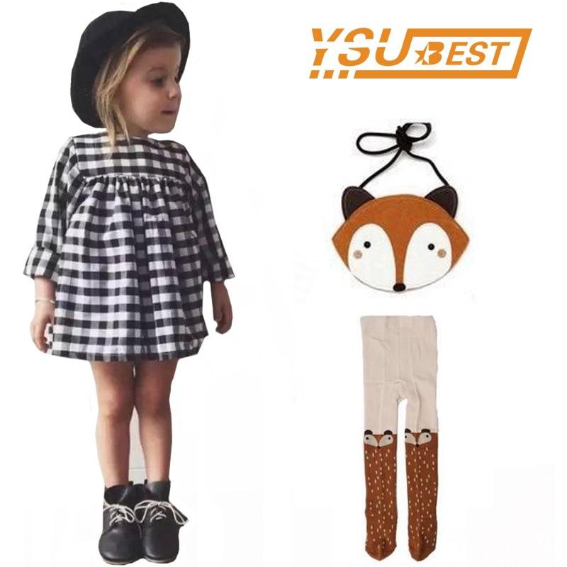 Bebé a cuadros de manga larga traje vestidos niñas vestido niños traje ropa + Girls Leggings + Fox bolsa 3 unids