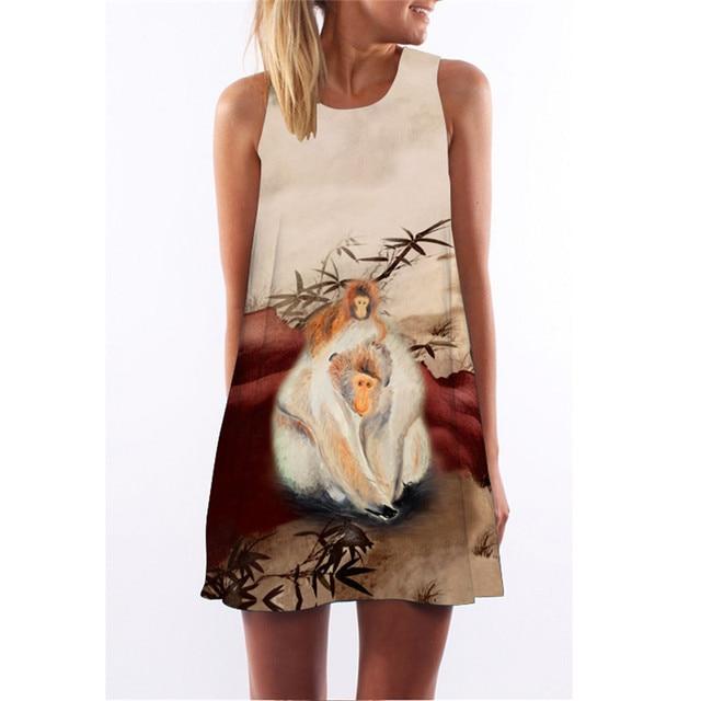 MEIBONA Women Summer Short Dress Monkey Print Cartoon Style Dress Casual Loose Beach Wear Vestidos De Verano