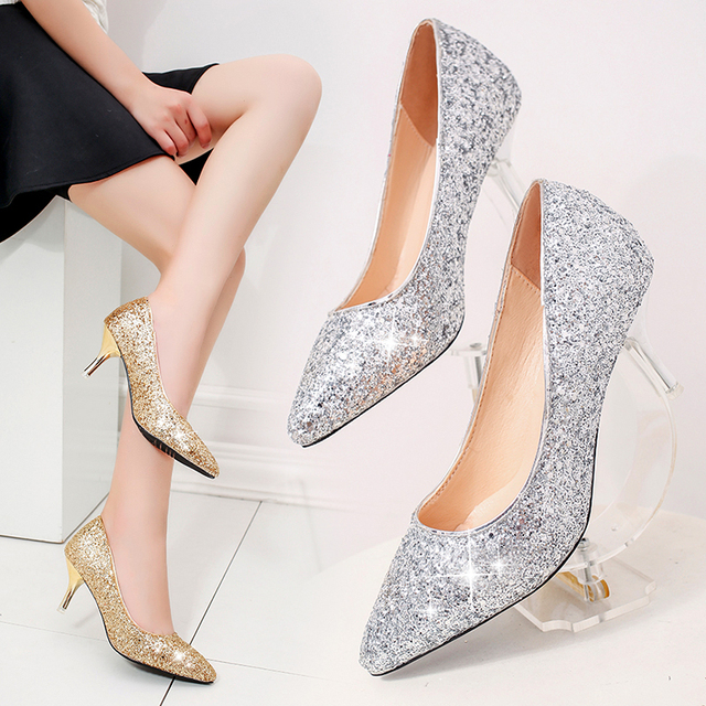 Plus Size Women Wedding Shoes High Heels Bling Woman Bridal Silver Dress Glitter Pumps