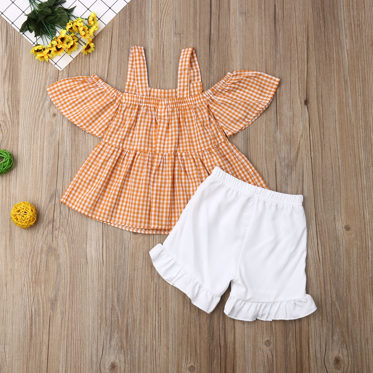 Toddler Kid Baby Girl Clothes Off Shoulder Strap Top Shorts Pants Summer Outfits