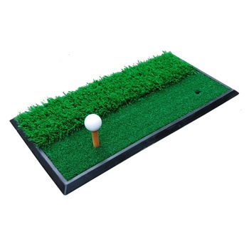 Dual-Surface Hitting/Practice Chipping and Driving Golf Grass Mat with Fairway and Rough Surfaces