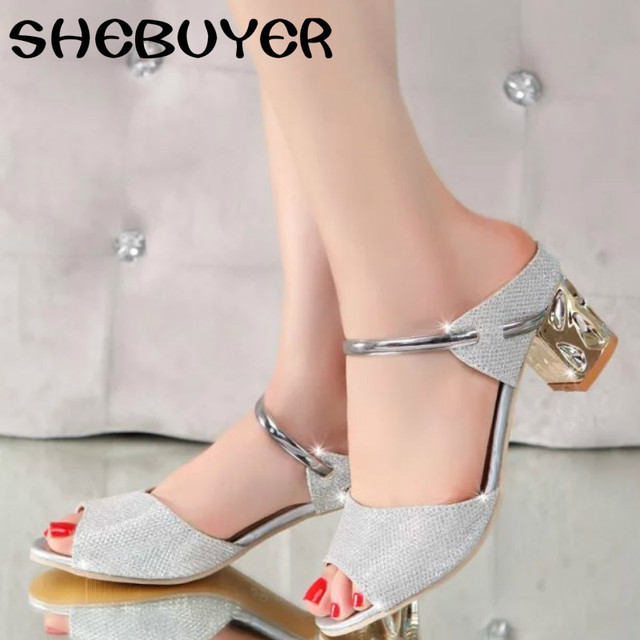 45b8b5873 2017 Summer Elegant Fashion Women Casual Shoes Thick with Sandals Peep-toe Beach  Shoes Mid Heel Bright Gold Silver Color Chunky