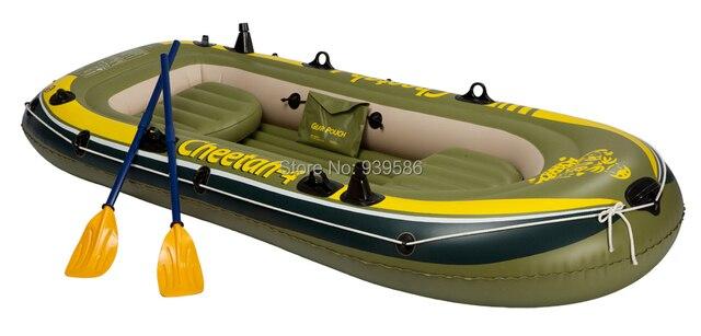 CHEETAH  4 Inflatable Boat Summer Fishing 4 Persons Rowboat Drifting Boat  Dinghy Kayak 0.6 Mm