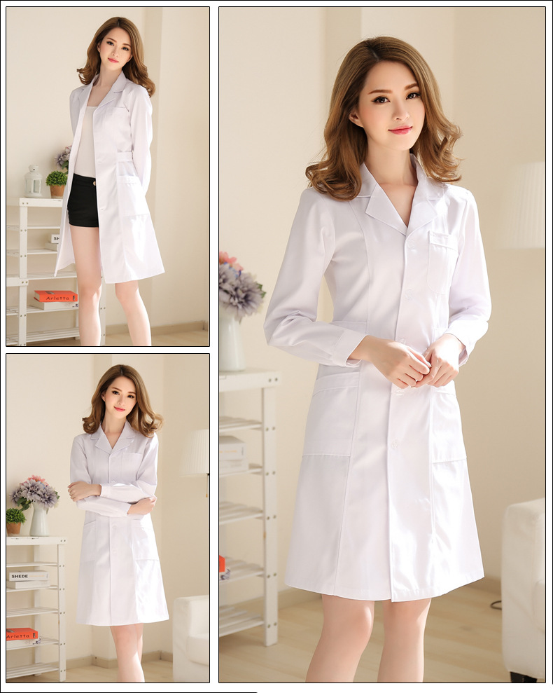 Medical clothing for womens cotton Medical gown Lab wear White coat Clothes doctors females thick Spring autumn nurse uniform