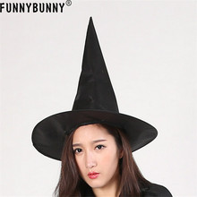FUNNYBUNNY Witches Hat Halloween Adult Black Witches Hat Fancy Dress Horror Spooky For  Costume Accessory Cap witches abroad