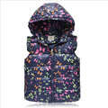 In the winter of 2016 new children vest butterfly printing design of baby girls vest in cap lovely vest children warm clothes