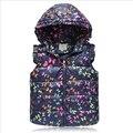 No inverno de 2016 novas crianças colete design de impressão borboleta das meninas do bebê colete em cap lindo colete crianças roupas quentes