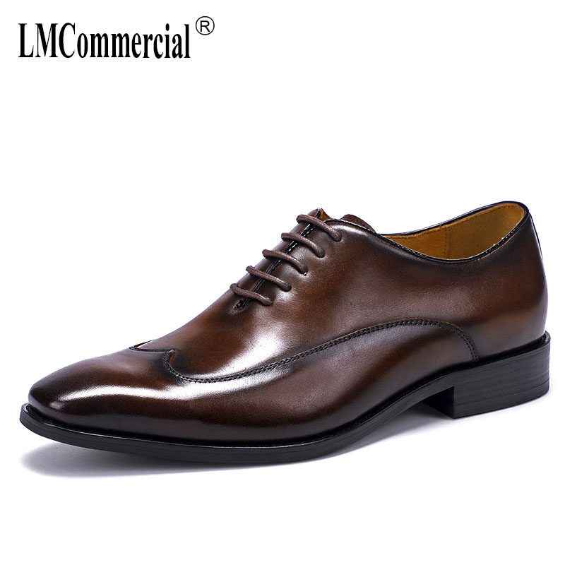 Zapatos fósforo Real Transpirable negro Hombre Vestir Oxford Hombres Dark Vaca Brown Boda De Británico Los Cuero Piel Negocios Del Todo Para 1OrqwCgf1x